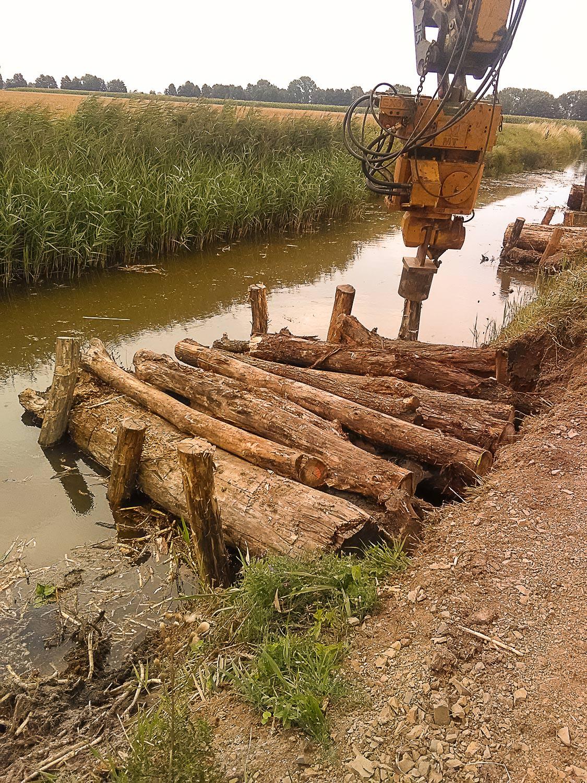 Bild 15 | Renaturierung Breiter Graben - Herstellung Holzbuhne